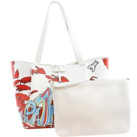 BORSA DONNA PATRIZIA PEPE SHOPPING BAG CON POCHETTE WHITE RED WALL 2V8895 120