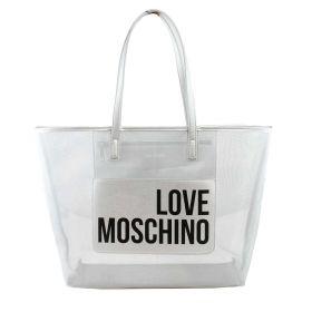 BORSA DONNA LOVE MOSCHINO SHOPPING BAG IN RETE TRASPARENTE SILVER JC4245 120