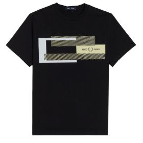 T-SHIRT UOMO FRED PERRY MIXED GRAPHIC BLACK M1599 121