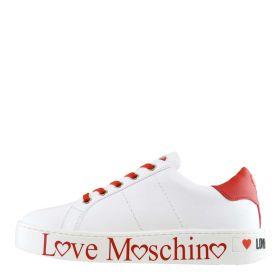 SCARPA DONNA LOVE MOSCHINO SNEAKERS LOW CASSETTA 35 BIANCO / ROSSO JA15033 120