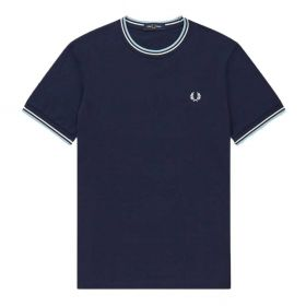 T-SHIRT UOMO FRED PERRY FP TWIN TIPPED DOPPIA RIGA M1588 CARBON BLU 120