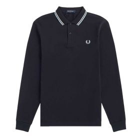 POLO UOMO FRED PERRY MANICA LUNGA MULTI TWIN TIPPED M3636 NAVY 220