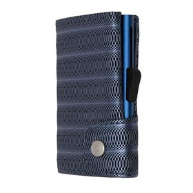C-SECURE SINGLE WALLET CARDHOLDER LIMITED EDITION BLUE METALLIC LEATHER