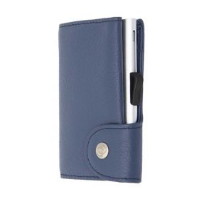 C-SECURE WALLET COIN POCKET CARDHOLDER CLASSIC LEATHER BLUE MARINO