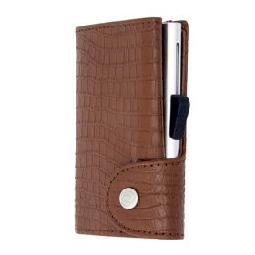 C-SECURE SINGLE WALLET CARDHOLDER CLASSIC LEATHER CROCO BROWN