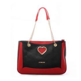 BORSA DONNA LOVE MOSCHINO SHOPPING BAG GRAINED CITY ROSSO/NERO JC4319 221