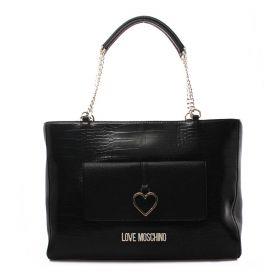 BORSA DONNA LOVE MOSCHINO SHOPPING BAG CITY CROCCO NERO JC4263 221