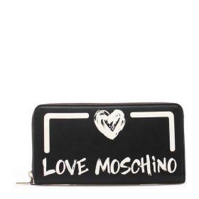 PORTAFOGLIO DONNA LOVE MOSCHINO ALL AROUND ZIP NERO/BIANCO JC5665 221