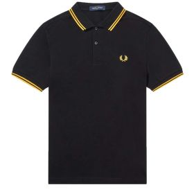 POLO UOMO FRED PERRY TWIN TIPPED BLACK/NEON YELLOW M3600 121