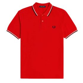 POLO UOMO FRED PERRY TWIN TIPPED RACING RED M3600 121
