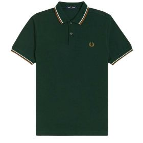 POLO UOMO FRED PERRY TWIN TIPPED EVERGREEN/SNOW/CARAMEL M3600 121
