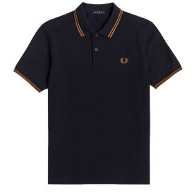 POLO UOMO FRED PERRY TWIN TIPPED NAVY/CARAMEL M3600 121