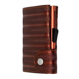 C-SECURE SINGLE WALLET CARDHOLDER LIMITED EDITION RED METALLIC LEATHER